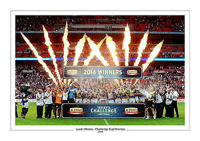 CHALLENGE CUP 2014 LEEDS RHINOS PHOTO PRINT A4 or 16 x 12 RUGBY WEMBLEY 2