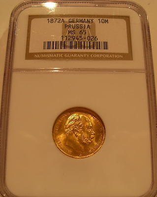 Germany Prussia 1872A Gold 10 Mark NGC MS-65
