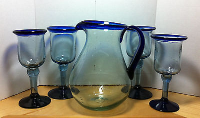 Set of 4 Mexican Mexico Cobalt Blue Wine Goblets And Glass Pitcher Hand Blown