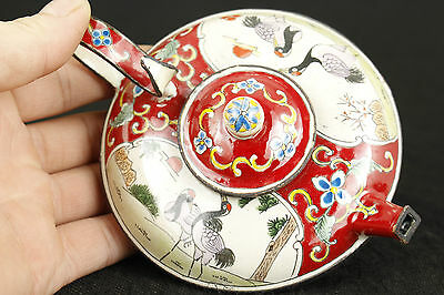 CHINESE OLD CLOISONNE COLLECTABLE HAND PAINTING CRANE ORNAMENT BUDDHA TEA POT