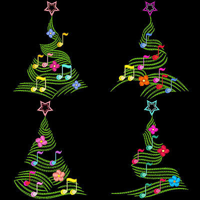 Musical Christmas Trees - 30 Machine Embroidery Designs (Azeb)