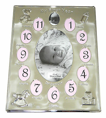 Silver Plated 'My First Year' Photo Frame Babys First Birthday Christening Gift