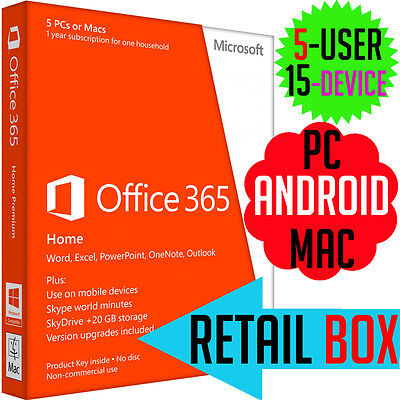 Microsoft Office Home Premium 365 with OUTLOOK  5 User PC Mac Tablet Retail 2016