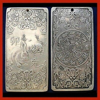 "Chinese""rabbit"" tibet Silver thanka amulet  136g"