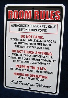 ROOM RULES -*US MADE* Embossed Sign -Teen Bedroom Man Cave Garage Bar Wall Decor