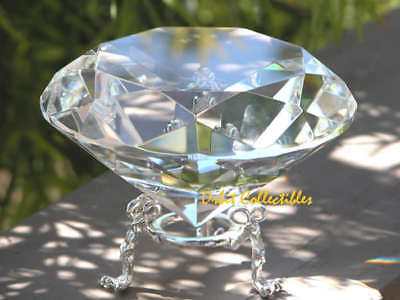 3pcs 100mm White DIAMOND Shaped Cut Crystal Paperweight Gift