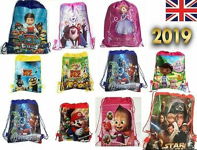 Kids Boys Girls Disney Drawstring Bag Gym Nursery Backpack PE Princess School