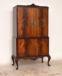 Antique Queen Anne Style Mahogany Cocktail Drinks Cabinet By Epstein