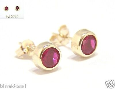 9ct Gold 5mm Small Round Rubover RUBY STUDS EARRINGS Love B'Day Mum's GIFT BOX N