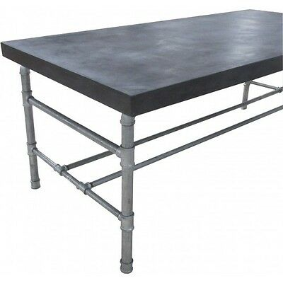 "79"" L Dining table dark gray concrete top solid iron frame legs industrial GM"