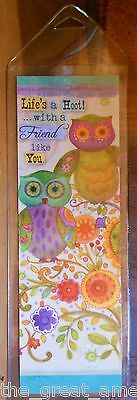 Leanin Tree BookMark Bright Colorful OWLS Lifes a HOOT w/ a Friend Like You USA