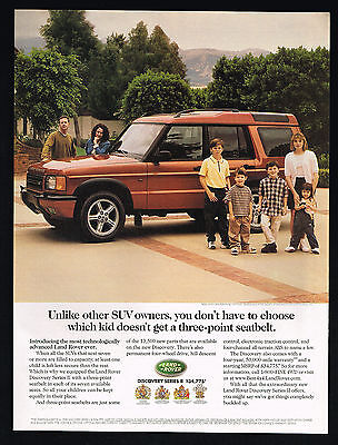 1999 Land Rover Discovery Series II SUV Photo 3 Point Seat Belt Vintage Print Ad