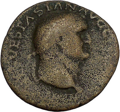 VESPASIAN 69AD Ancient Big Roman Coin Fortuna Luck Cult i42252