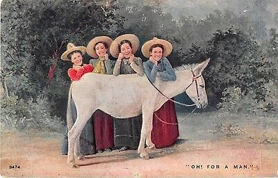 Four Ladies Leaning on a Donkey on 1908 Comic Postcard-Oh, For A Man! - No. 3474
