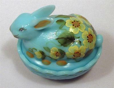 NEW Mosser Glass Easter Bunny Rabbit Robin Egg Blue Trinket Candy Dish or Box