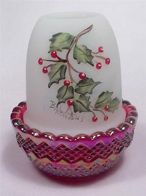 MOSSER Fairy Glimmer Light Lamp with Hand Painted Holly Branch Red Carnival Base