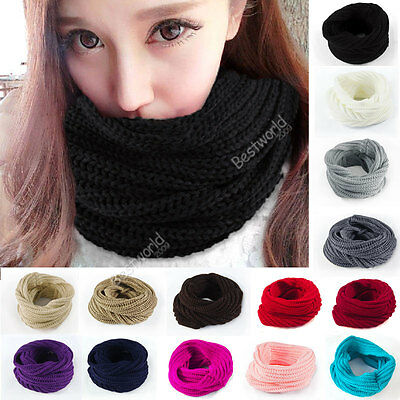 Women Girls Warm Wool Loop Snood Scarf Knit Neck Circle Wrap Cowl Shawl