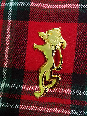 "Men's Scottish Lion Rampant Gold Kilt Pin 4""/Highland Lion Rampant Kilt Pin 4"""