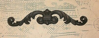 Black Solid CAST IRON Wall Scroll Pediment Hanging Decor Aged Look