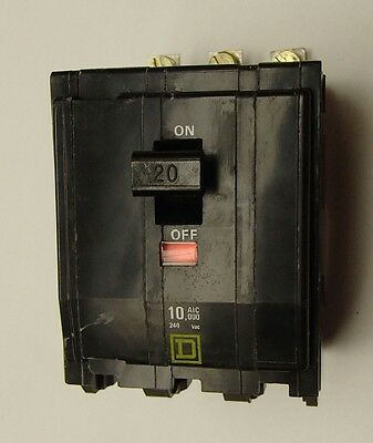 AMAT 0680-01299 Square D QOB3205237 Bolt-on Circuit Breaker 20 Amps 3-Pole 240V
