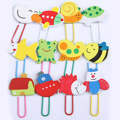XHWQ 12Pcs Cartoon Animal Wooden Paper Note Clips Bookmark Bookmarker Paperclip