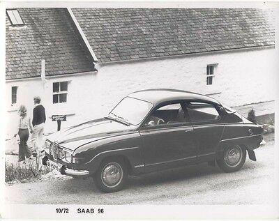 Saab 96 Saloon Press Photograph 1972 in front of whitewashed cottage
