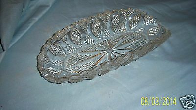 """CELERY DISH AMERICAN BRILLIANT OVAL OBLONG CUT CRYSTAL SERVING HEAVY BOWL  9.5"""""""