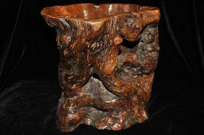 Large Old Chinese Carved Burl Wood Brush Pot