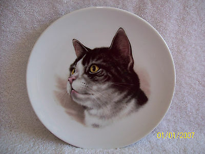Grey & White Cat~Collector's Plate~Golden Crown E&R Bavaria, Schumann, Germany