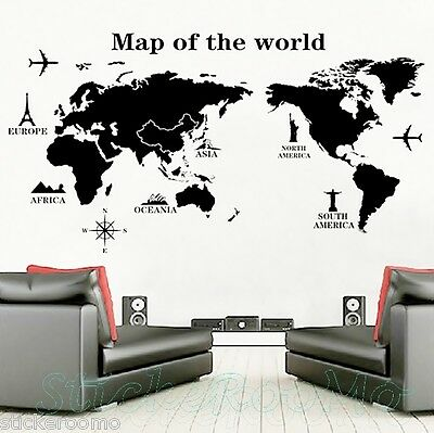 Map Of The World Removable Room Wall Art Stickers Vinyl Decals Home Decoration