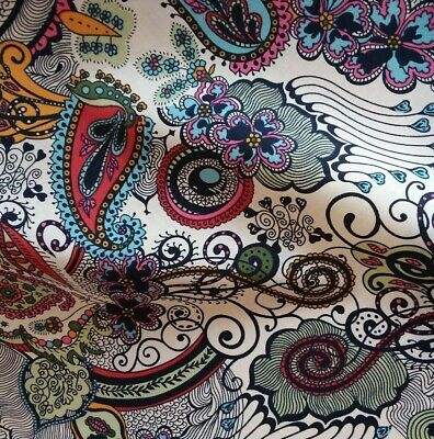 Pink Vibrant Paisley Lawn Cotton Fabric,  Perfect for dressmaking, 140cm wide
