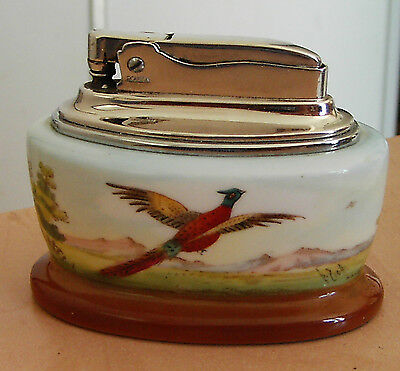 A MINTON / RONSON  BONE CHINA TABLE LIGHTER  WITH A  PHEASANT/COUNTRYSIDE SCENE