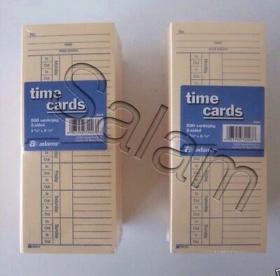500 x 2 =1000 2 Sided Time Cards Employee Punch Payroll Amano Clock Adams 9664A