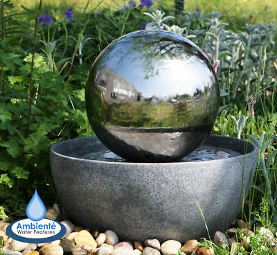 Sphere Water Feature Fountain Stainless Steel Ball LED Lights Indoor Outdoor