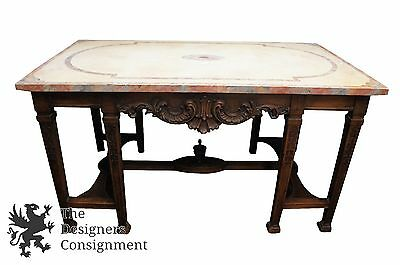 Antique French Renaissance Revival Baroque Carved Desk Faux Marble Library Table