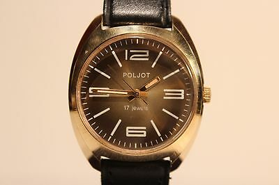 """VINTAGE RARE MILITARY PRIZE GOLD PLATED  MEN'S USSR RUSSIAN WATCH """"POLJOT"""" 17 J."""