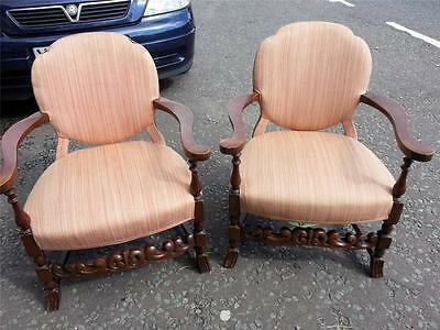Pretty vintage / antique?  pair of small armchairs carved wood stretchers