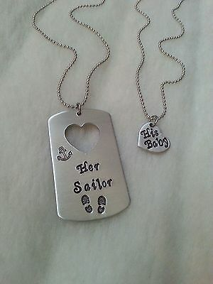 Her Sailor Custom Hand Stamped DogTag Necklace Set Military Deployment Navy Hero