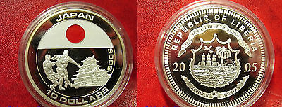 Liberia 2005 Large Silver Color Proof $10-World Cup Soccer Japan
