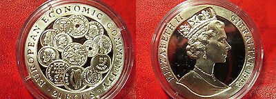1993 Gibraltar Large Silver Proof 21 Ecu European Community-Coins