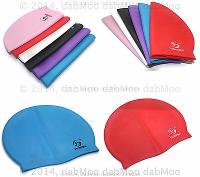 NEW Unisex Pool Swim Cap Moulded Latex 100% Silicone Swimming Cap Hat Fit All