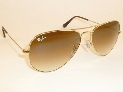 New RAY BAN Aviator Sunglasses Gold Frame  RB 3025 001/51  Gradient Brown  62mm