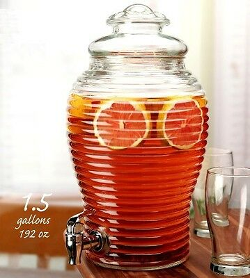 BEVERAGE DISPENSER GLASS - 1.5 Gallons -Treviso - BEEHIVE - NEW Gift Boxed