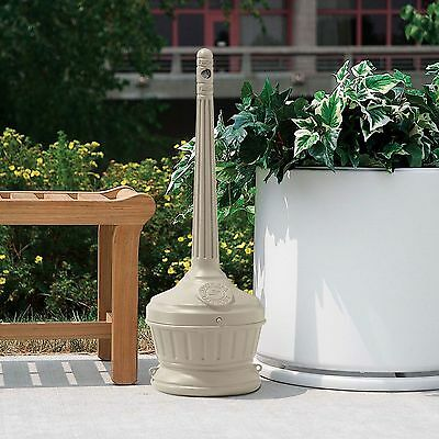 """Smokers Outpost Outdoor Patio Cigarette Receptacle 30""""H Standing Ashtray Beige"""