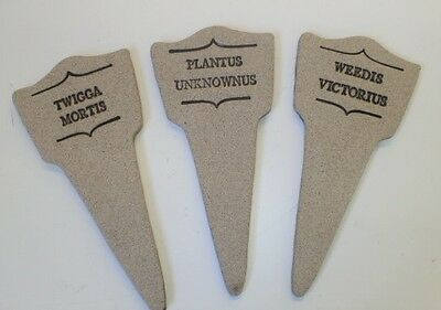Funny/Humorous Fake Latin Names Garden Stakes/Plant Markers/Labels Stoneware NEW