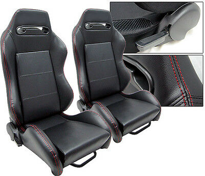 New 2 Black Pvc Leather + Red Stitch & Slider Racing Seats Reclinable All Dodge
