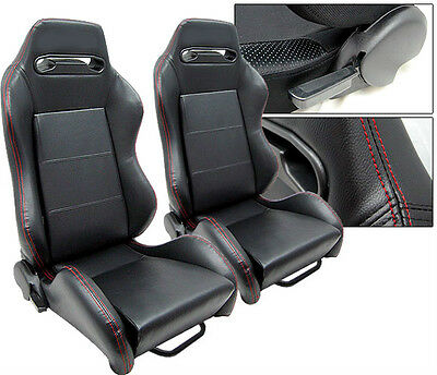 New 2 Black + Red Stitch Leather Racing Seats Reclinable All Chevrolet ****