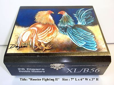 "Heavy Wooden Humidor Cigar Box  w/ ""Rooster"" Oil Painting on Top."