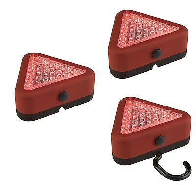 3 x Emergency 39 LED Triangle Red flashing and Worklight Magnetic base 3 pack