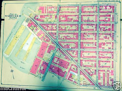 ORIG. 1904 ATLAS MAP OF HISTORIC CARROLL GARDENS BROOKLYN NY COLE ST - DeGRAW ST